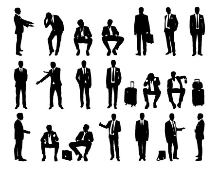 big set of black and white silhouettes of a businessmen standing and sitting in different postures, face and profile views photo