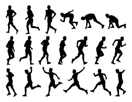 大きな白い男性ジョギング、実行しているジャンプの黒シルエットのセットします。
