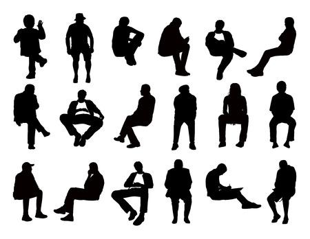 grand ensemble de silhouettes noires des hommes de différents âges assis dans des postures différentes de lecture, parler, écrire, parler au téléphone ou simplement regarder, avant et vues de profil
