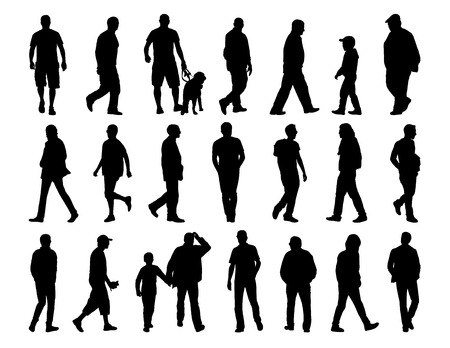 big set of black silhouettes of men of different ages walking in the street photo