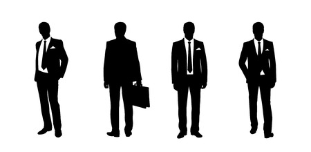 black silhouettes of a businessman standing in different postures, front and back views photo