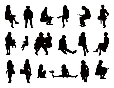 seated: big set of black silhouettes of women of different ages seated in different postures reading, speaking, writing, talking on the phone, carrying about their children or just watching, front and profile views