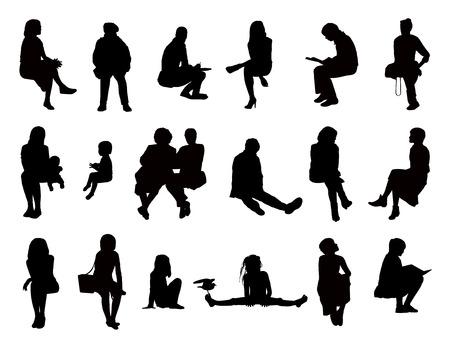 Grote reeks van zwarte silhouetten van vrouwen van verschillende leeftijden zitten in verschillende houdingen lezen, spreken, schrijven, praten over de telefoon, het dragen over hun kinderen of alleen maar kijken, voor-en profile views
