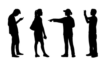 black silhouettes of teen asian men and women standing outdoor in different postures, front, back and profile views photo