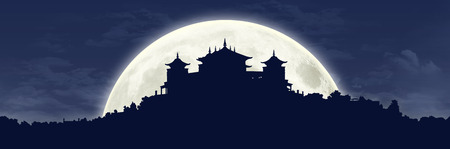 black silhouette of a traditional Tibetan Buddhist monastery on the hill covered with vegetation at full moon, large panoramic view