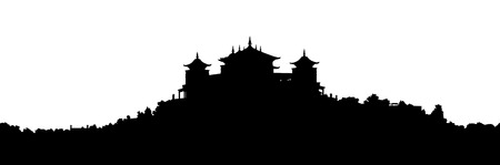 black silhouette of a traditional Tibetan Buddhist monastery on the hill covered with vegetation, large panoramic view Stock Photo
