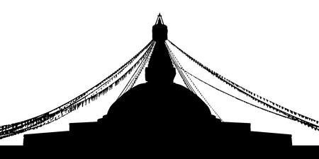 カトマンズ、ネパール、ボダナートの黒いシルエットは休日の装飾