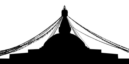 black silhouette of a Boudhanath Stupa in Kathmandu, Nepal, decorated for a holiday Stockfoto