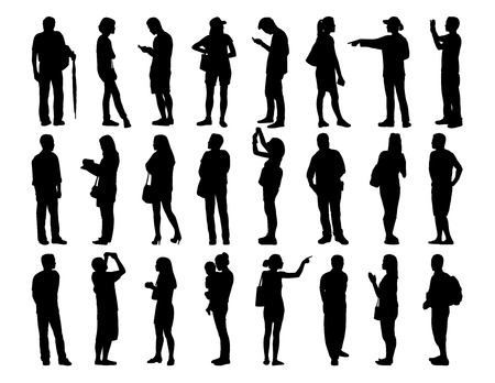 big set of black silhouettes of asian men and women of different age standing in various postures Stockfoto