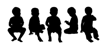 seated: black silhouettes of medium group of little children about age 2-3 seated in a row face to the onlooker in different postures