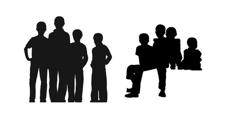 seated: black silhouettes of medium group of gamins about age 5-8 seated and standing together