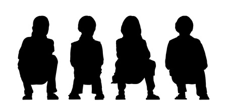 about age: black silhouettes of medium group of girls about age 5-8 seated in a row face to the onlooker in different postures