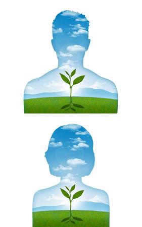 Portrait d'un jeune homme et une femme avec une jeune pousse commence à se développer à l'intérieur de lui, une métaphore d'un début d'une nouvelle vie Banque d'images - 30502751