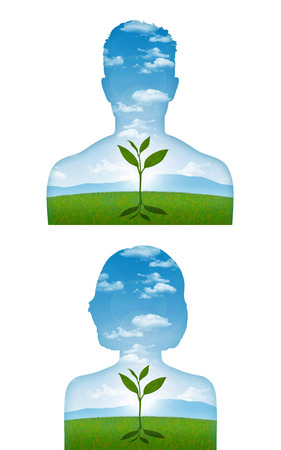 portrait of a young man and woman with a young sprout starting to grow inside him, a metaphor of a beginning of a new life