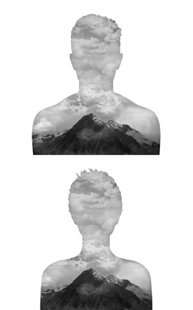 Portrait d'un jeune homme et une femme avec un paysage de tempête en leur sein, une métaphore de quelqu'un d'être en très mauvaise humeur Banque d'images - 30502752