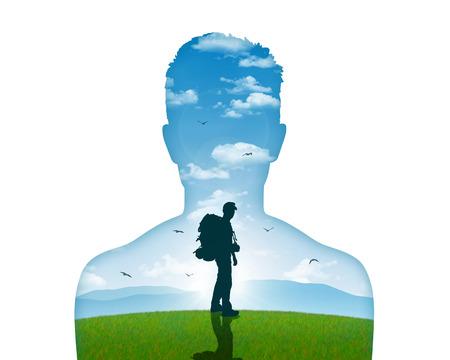 mente humana: imagen de un hombre joven de salir para su viaje interior, acaba de cumplir para decir adiós Foto de archivo