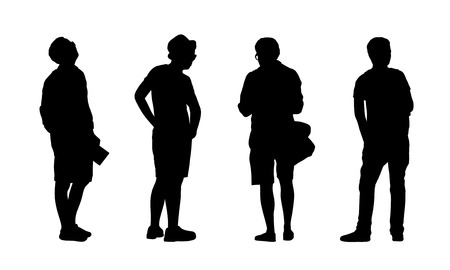 silhouettes of ordinary young men standing outdoor in different postures, profile and back views photo
