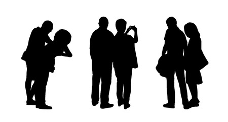 ordinary: silhouettes of ordinary couples of different age standing outdoor in different postures, profile and back views Stock Photo