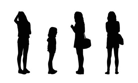 ordinary: silhouettes of ordinary young women standing outdoor in different postures, front, profile and back views Stock Photo