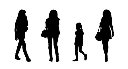 ordinary: silhouettes of ordinary young women walking outdoor, front, back and profile view