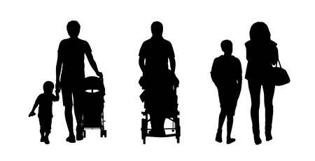 promenade: silhouettes of families walking outdoor, front and back views