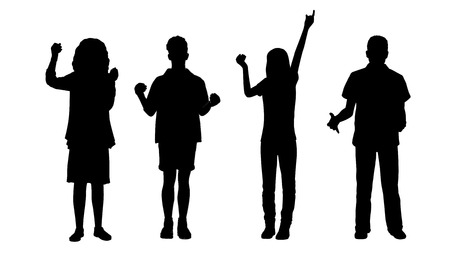 silhouettes of ordinary young men and women holding objects in their hands standing in different postures, front view photo