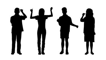 ordinary: silhouettes of ordinary young men and women holding objects in their hands standing in different postures, front view