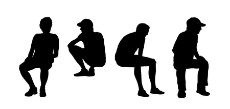 black silhouettes of men of different ages seated outdoor, front and profile views