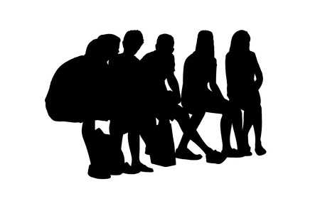 medium group of young people seated outdoor silhouettes