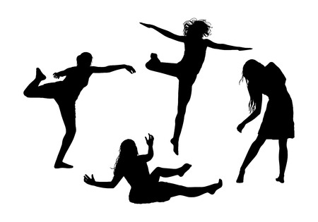 black silhouettes of young women in motion in different postures