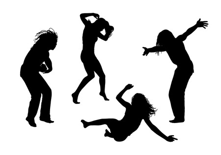 black silhouettes of young men and women in motion in different postures Stock Photo