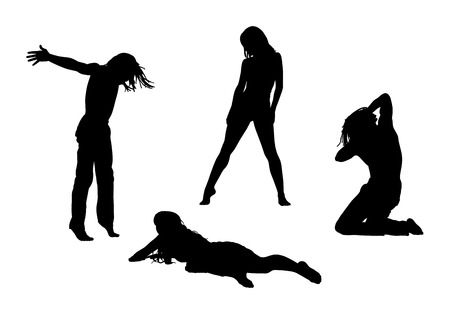 black silhouettes of young men and women in motion in different postures Stockfoto