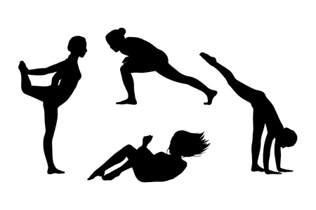 postures: black silhouettes of young women in motion in different postures