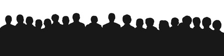 black silhouette of a large audience, panoramic view Stock Photo