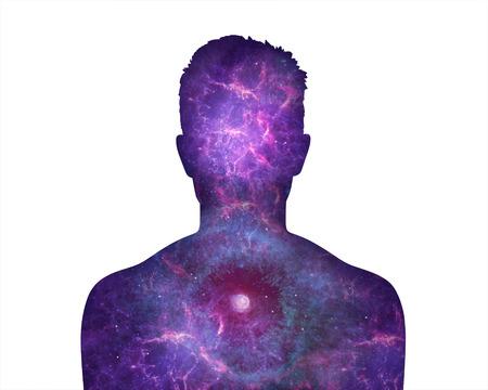 彼の内なる小宇宙を示す若い男の肖像 写真素材