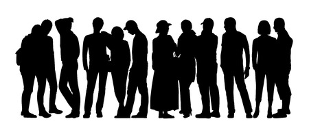 cat s: black silhouette of a large group of people standing talking in different postures