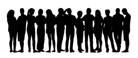 black silhouette of a large group of young people standing talking in different postures Stockfoto
