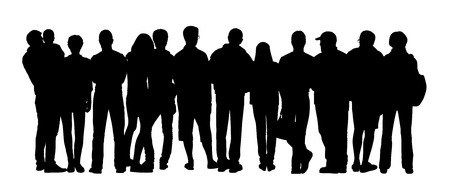 black silhouette of a large group of different people standing outdoor in different postures, back view Stockfoto