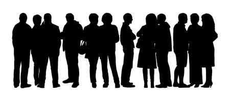 black silhouette of a large group of people standing talking in different postures