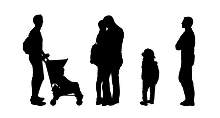 silhouettes of ordinary young couple, family and children outdoor standing in different postures