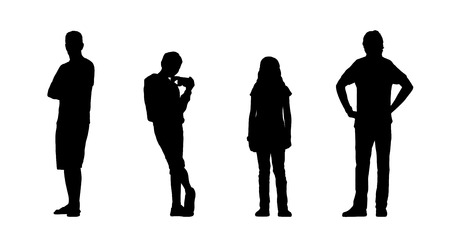girl at phone: silhouettes of ordinary people of different age standing outdoor in different postures, front and back views