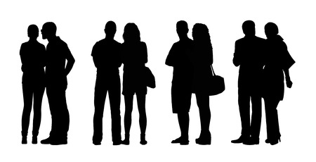 silhouettes of ordinary adult couples standing outdoor in different postures, talking, looking