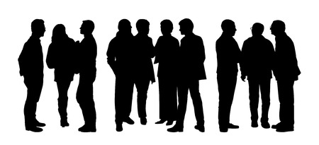 cat s: black silhouettes of three different groups of people standing and talking to Each Other