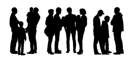 black silhouettes of three different groups of people standing and talking to Each Other