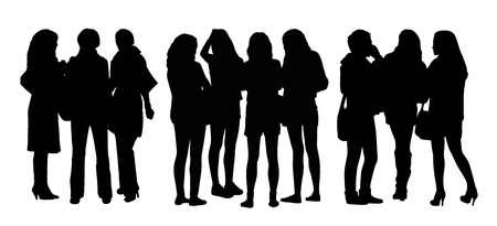 women only: black silhouettes of three different groups of women only standing and talking to Each Other Stock Photo
