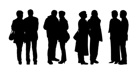 standing silhouettes of ordinary senior couple outdoor in different postures, talking, looking