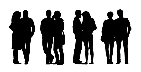 women s clothes: silhouettes of ordinary adult couples standing outdoor in different postures, talking, looking