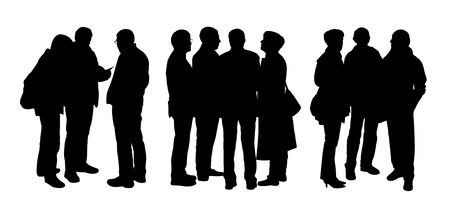 catechism: black silhouettes of three different groups of senior people standing and talking to Each Other Stock Photo