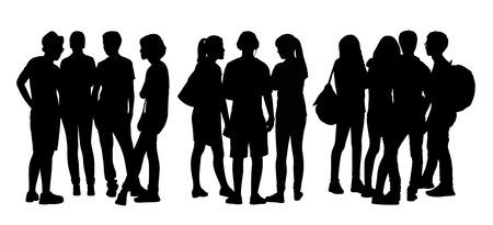 立っていると話をお互いに 10 代の人々 の 3 つのグループの黒いシルエット