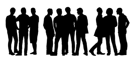 black silhouettes of three different groups of men only standing and talking to Each Other